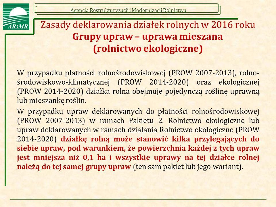 Agencja Restrukturyzacji i Modernizacji Rolnictwa Zasady deklarowania działek rolnych w 2016 roku Grupy upraw – uprawa mieszana (rolnictwo ekologiczne