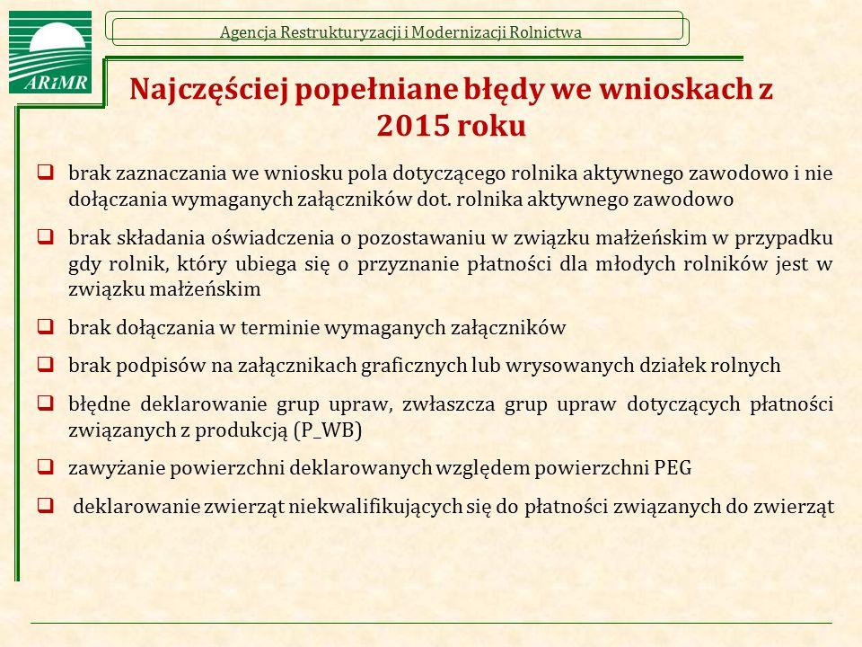 Agencja Restrukturyzacji i Modernizacji Rolnictwa Najczęściej popełniane błędy we wnioskach z 2015 roku  brak zaznaczania we wniosku pola dotyczącego