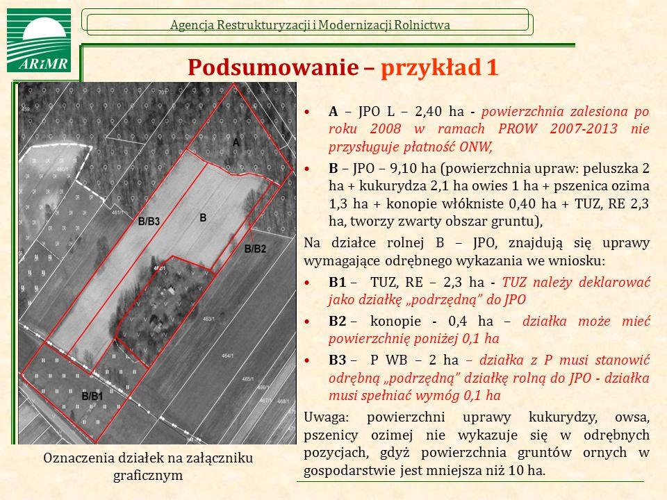 Agencja Restrukturyzacji i Modernizacji Rolnictwa Podsumowanie – przykład 1 A – JPO L – 2,40 ha - powierzchnia zalesiona po roku 2008 w ramach PROW 20