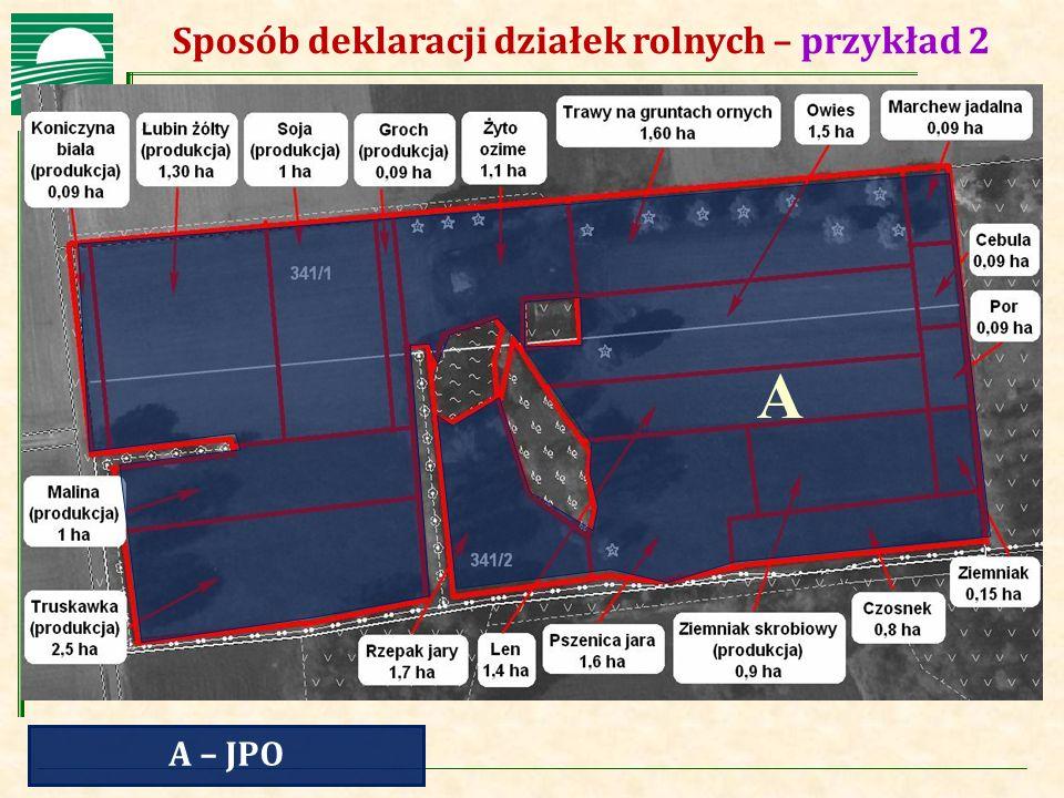 Agencja Restrukturyzacji i Modernizacji Rolnictwa Sposób deklaracji działek rolnych – przykład 2 A – JPO A