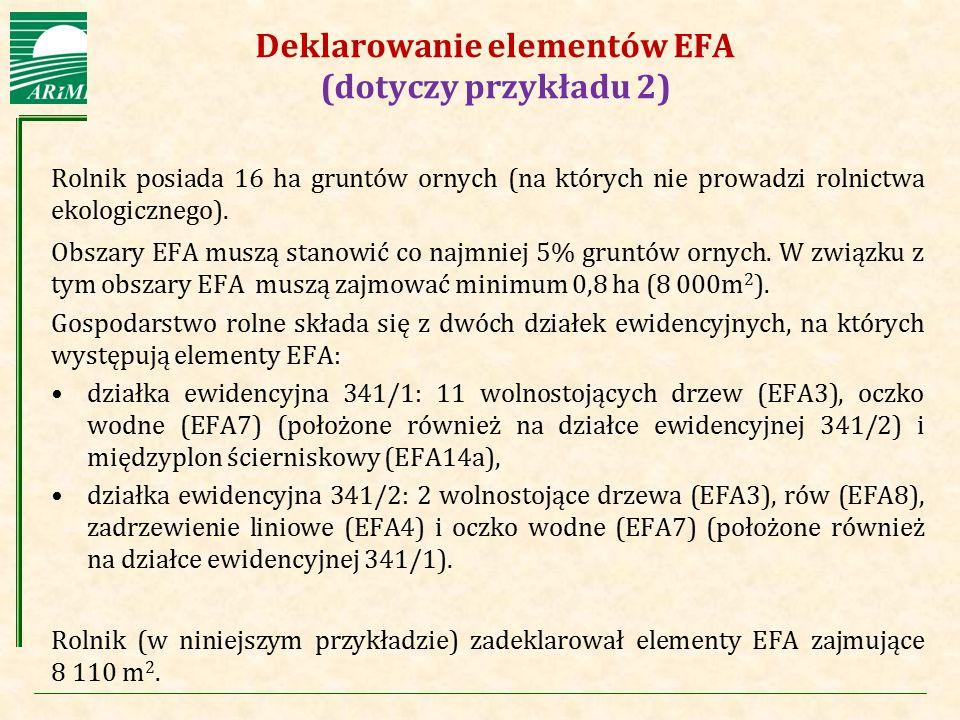 Agencja Restrukturyzacji i Modernizacji Rolnictwa Deklarowanie elementów EFA (dotyczy przykładu 2) Rolnik posiada 16 ha gruntów ornych (na których nie
