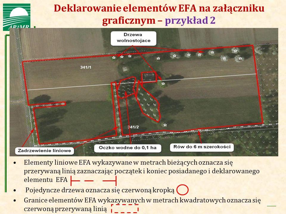 Agencja Restrukturyzacji i Modernizacji Rolnictwa Deklarowanie elementów EFA na załączniku graficznym – przykład 2 Elementy liniowe EFA wykazywane w m