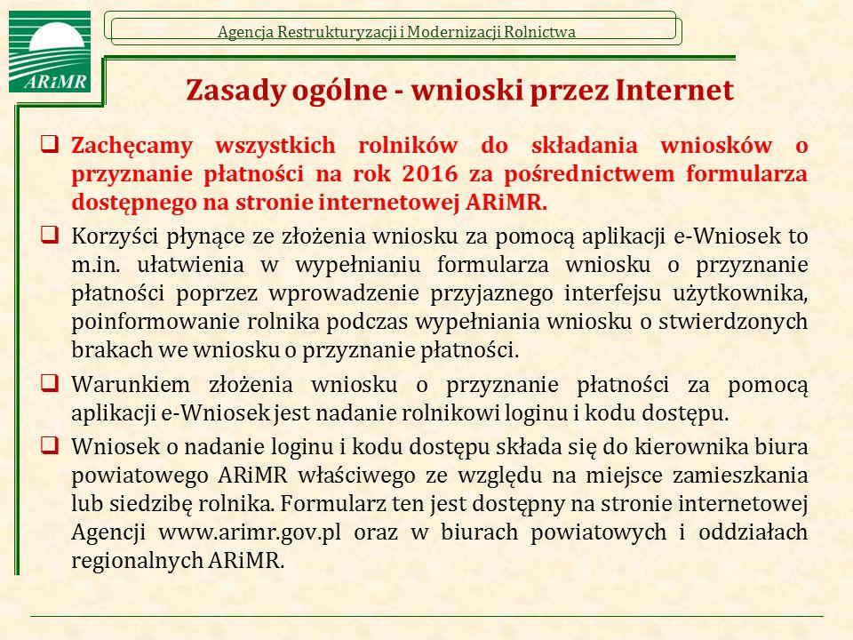 Agencja Restrukturyzacji i Modernizacji Rolnictwa Zasady ogólne - wnioski przez Internet  Zachęcamy wszystkich rolników do składania wniosków o przyz