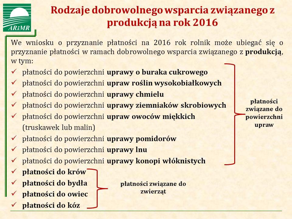 Agencja Restrukturyzacji i Modernizacji Rolnictwa Rodzaje dobrowolnego wsparcia związanego z produkcją na rok 2016 We wniosku o przyznanie płatności n