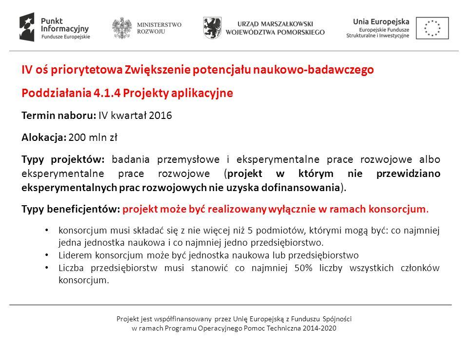 Projekt jest współfinansowany przez Unię Europejską z Funduszu Spójności w ramach Programu Operacyjnego Pomoc Techniczna 2014-2020 IV oś priorytetowa Zwiększenie potencjału naukowo-badawczego Poddziałania 4.1.4 Projekty aplikacyjne Termin naboru: IV kwartał 2016 Alokacja: 200 mln zł Typy projektów: badania przemysłowe i eksperymentalne prace rozwojowe albo eksperymentalne prace rozwojowe (projekt w którym nie przewidziano eksperymentalnych prac rozwojowych nie uzyska dofinansowania).