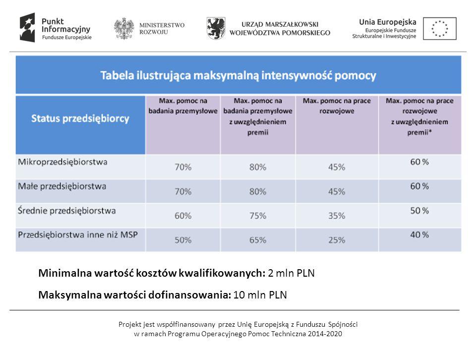 Projekt jest współfinansowany przez Unię Europejską z Funduszu Spójności w ramach Programu Operacyjnego Pomoc Techniczna 2014-2020 Minimalna wartość kosztów kwalifikowanych: 2 mln PLN Maksymalna wartości dofinansowania: 10 mln PLN
