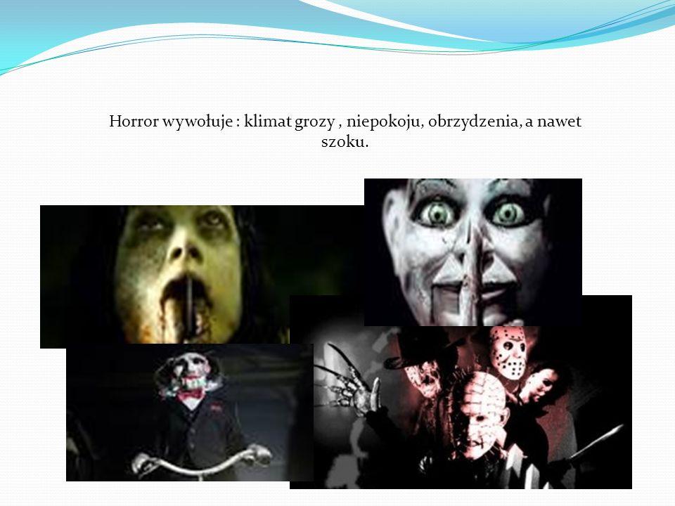 Horror wywołuje : klimat grozy, niepokoju, obrzydzenia, a nawet szoku.