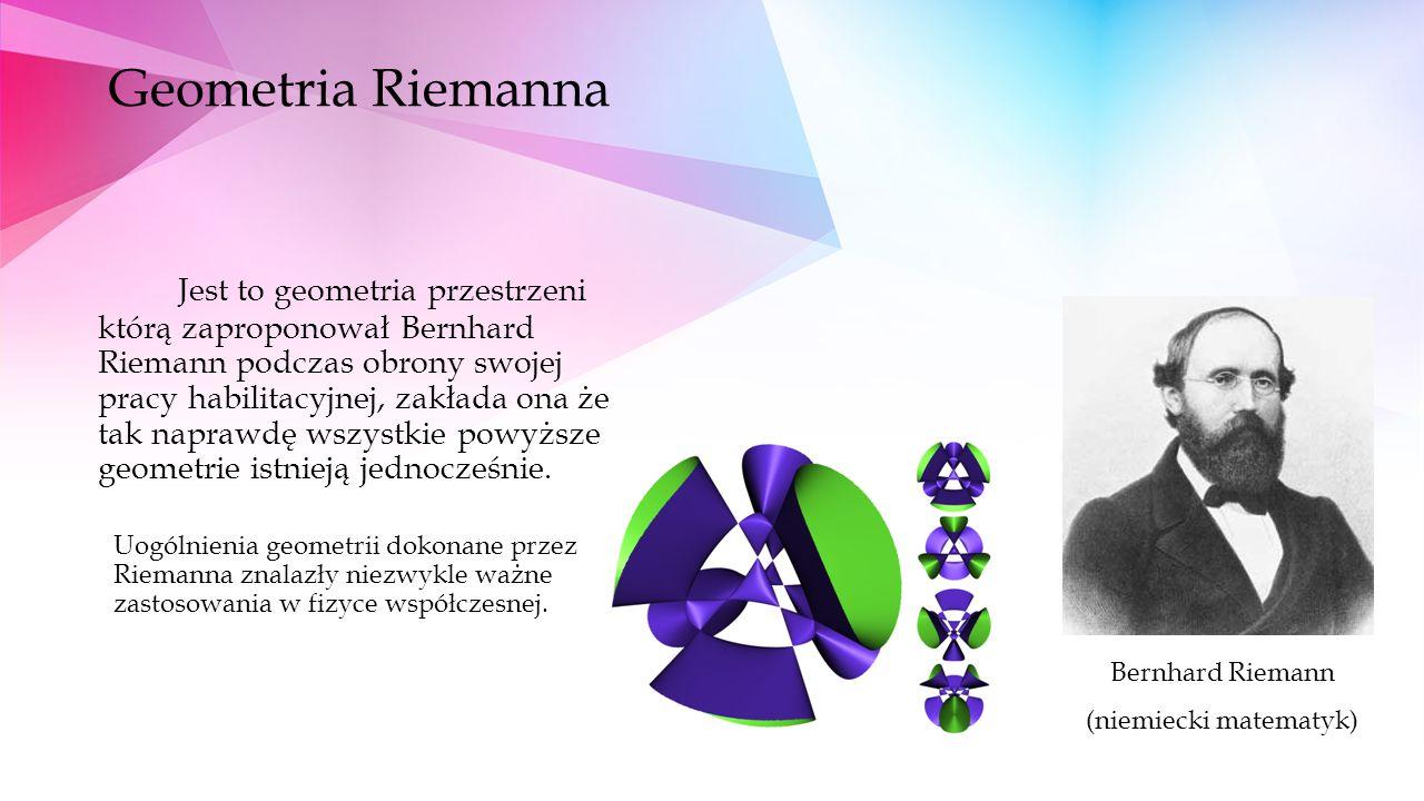 Geometria Riemanna Jest to geometria przestrzeni którą zaproponował Bernhard Riemann podczas obrony swojej pracy habilitacyjnej, zakłada ona że tak naprawdę wszystkie powyższe geometrie istnieją jednocześnie.