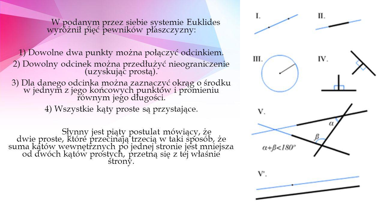 W podanym przez siebie systemie Euklides wyróżnił pięć pewników płaszczyzny: 1) Dowolne dwa punkty można połączyć odcinkiem.