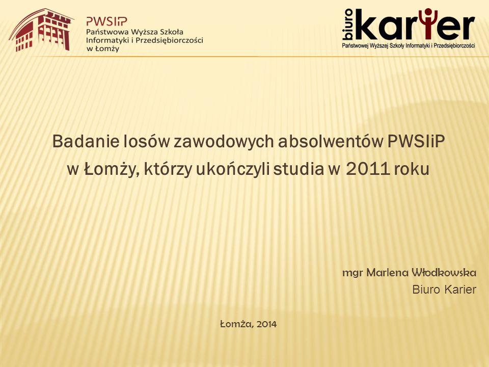 Charakterystyka populacji Badaniem objęto absolwen tów PWSIiP w Łomży, którzy w 2011 roku ukończyli studia w trybie stacjonarnym i niestacjonarnym na jednym z następujących kierunków:  informatyka,  pielęgniarstwo I i II stopnia,  technologia żywności i żywienie człowieka,  wychowanie fizyczne,  kosmetologia,  zarządzanie.