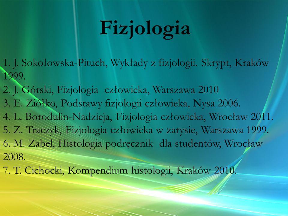 1. J. Sokołowska-Pituch, Wykłady z fizjologii. Skrypt, Kraków 1999. 2. J. Górski, Fizjologia człowieka, Warszawa 2010 3. E. Ziółko, Podstawy fizjologi