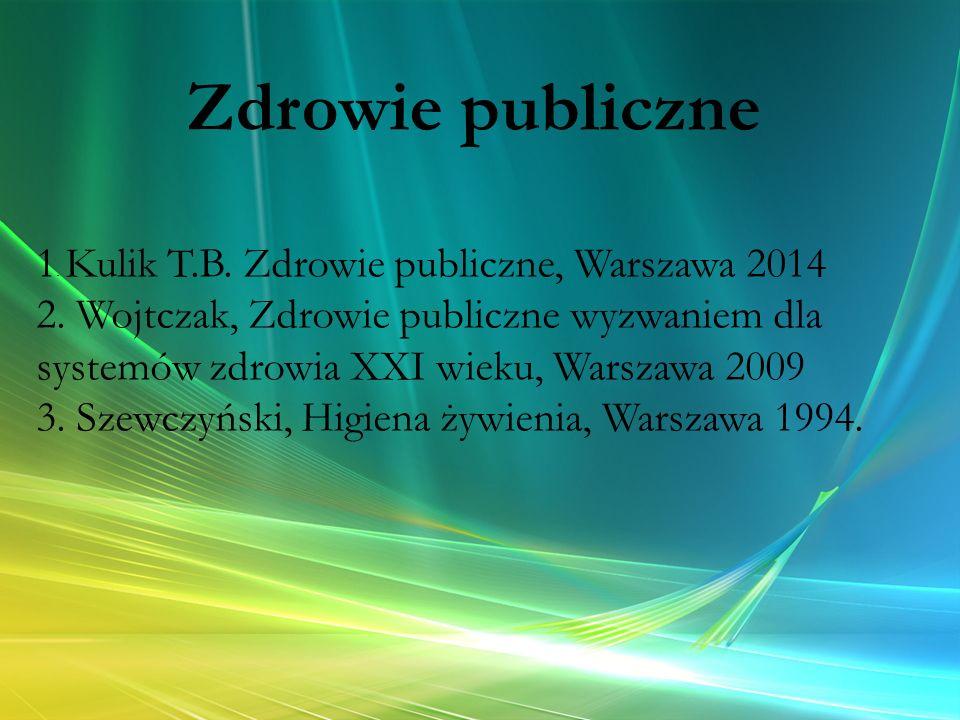 1. Kulik T.B. Zdrowie publiczne, Warszawa 2014 2. Wojtczak, Zdrowie publiczne wyzwaniem dla systemów zdrowia XXI wieku, Warszawa 2009 3. Szewczyński,
