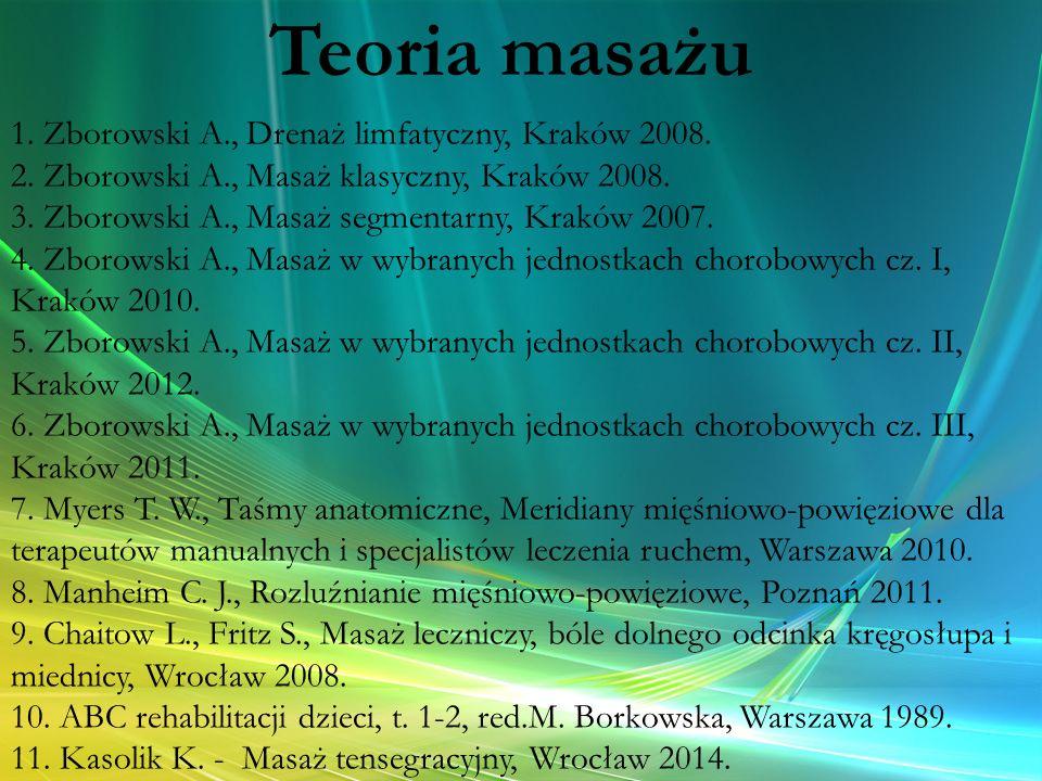 1. Zborowski A., Drenaż limfatyczny, Kraków 2008. 2. Zborowski A., Masaż klasyczny, Kraków 2008. 3. Zborowski A., Masaż segmentarny, Kraków 2007. 4. Z