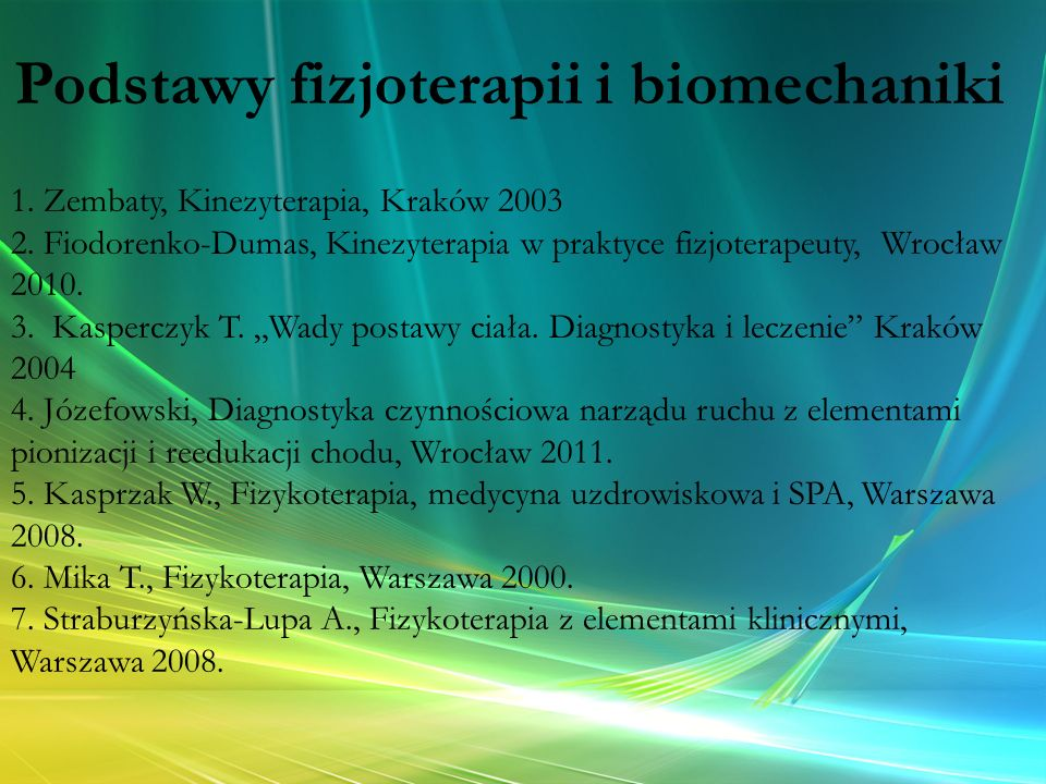 """1. Zembaty, Kinezyterapia, Kraków 2003 2. Fiodorenko-Dumas, Kinezyterapia w praktyce fizjoterapeuty, Wrocław 2010. 3. Kasperczyk T. """"Wady postawy ciał"""