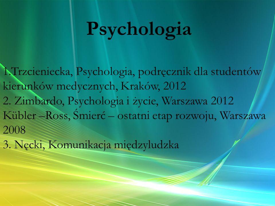 1.Trzcieniecka, Psychologia, podręcznik dla studentów kierunków medycznych, Kraków, 2012 2. Zimbardo, Psychologia i życie, Warszawa 2012 Kübler –Ross,