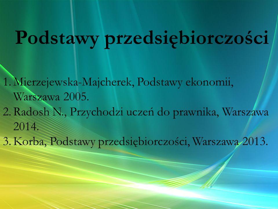 Podstawy przedsiębiorczości 1.Mierzejewska-Majcherek, Podstawy ekonomii, Warszawa 2005. 2.Radosh N., Przychodzi uczeń do prawnika, Warszawa 2014. 3.Ko
