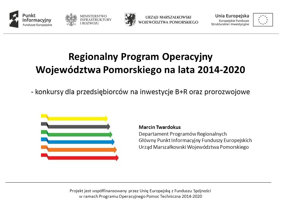 Projekt jest współfinansowany przez Unię Europejską z Funduszu Spójności w ramach Programu Operacyjnego Pomoc Techniczna 2014-2020 Oś priorytetowa 2 - Przedsiębiorstwa Działanie 2.1.
