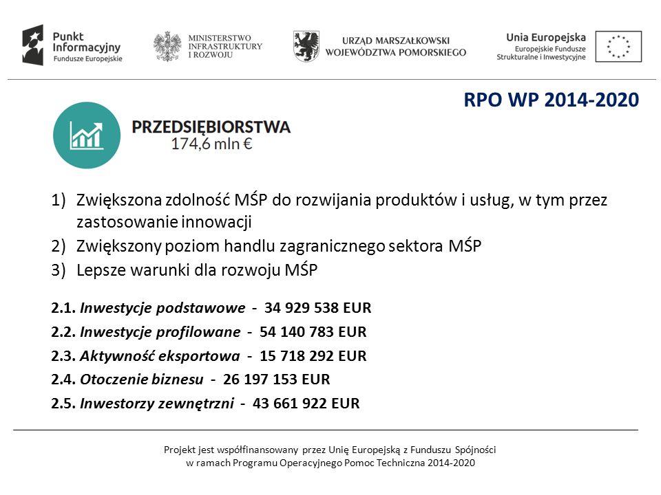 Projekt jest współfinansowany przez Unię Europejską z Funduszu Spójności w ramach Programu Operacyjnego Pomoc Techniczna 2014-2020 1)Zwiększona zdolno