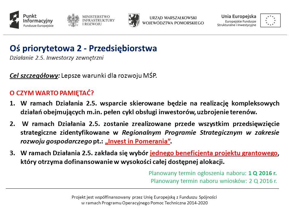 Projekt jest współfinansowany przez Unię Europejską z Funduszu Spójności w ramach Programu Operacyjnego Pomoc Techniczna 2014-2020 Oś priorytetowa 2 -