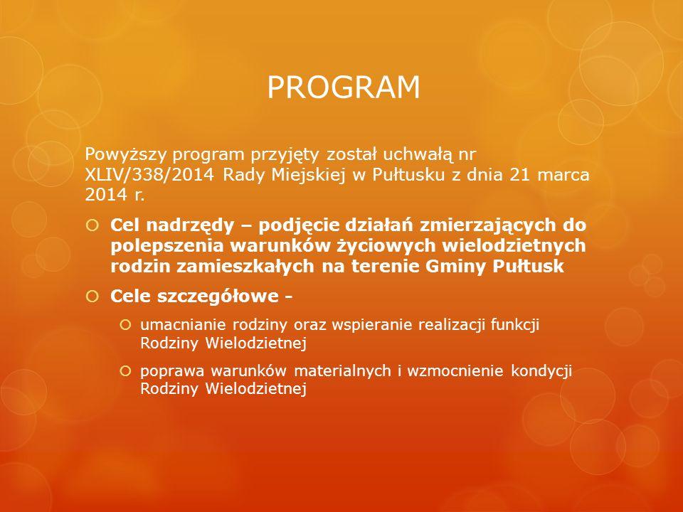 PROGRAM Powyższy program przyjęty został uchwałą nr XLIV/338/2014 Rady Miejskiej w Pułtusku z dnia 21 marca 2014 r.  Cel nadrzędy – podjęcie działań