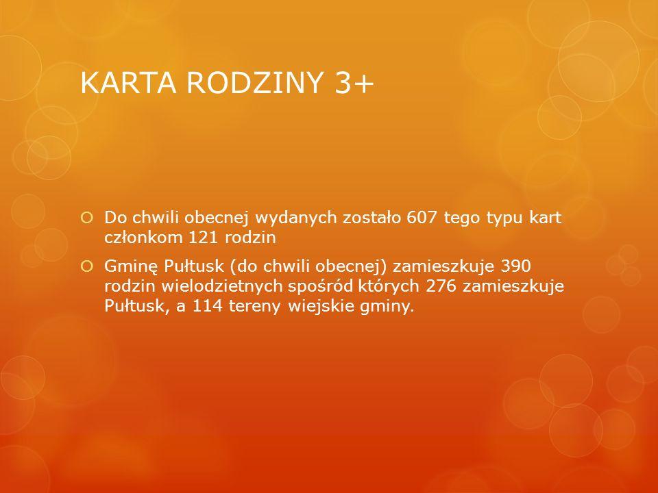  Do chwili obecnej wydanych zostało 607 tego typu kart członkom 121 rodzin  Gminę Pułtusk (do chwili obecnej) zamieszkuje 390 rodzin wielodzietnych