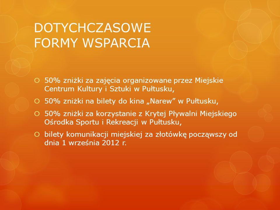 """DOTYCHCZASOWE FORMY WSPARCIA  50% zniżki za zajęcia organizowane przez Miejskie Centrum Kultury i Sztuki w Pułtusku,  50% zniżki na bilety do kina """""""