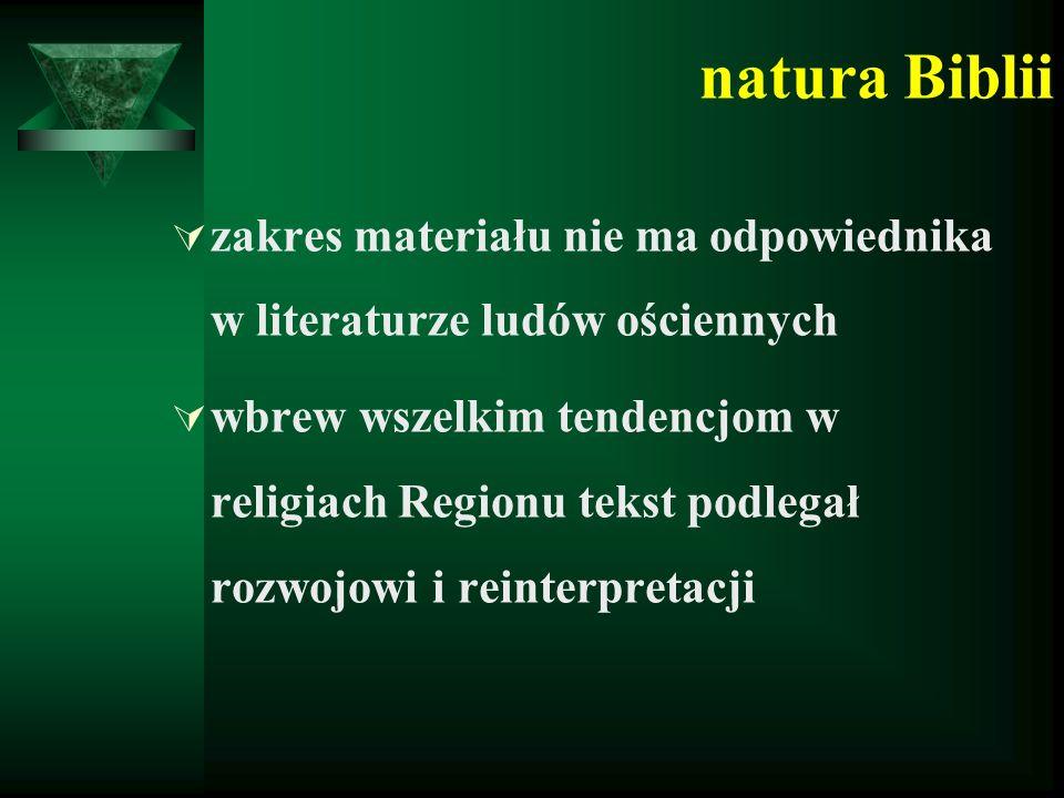 natura Biblii  zakres materiału nie ma odpowiednika w literaturze ludów ościennych  wbrew wszelkim tendencjom w religiach Regionu tekst podlegał rozwojowi i reinterpretacji