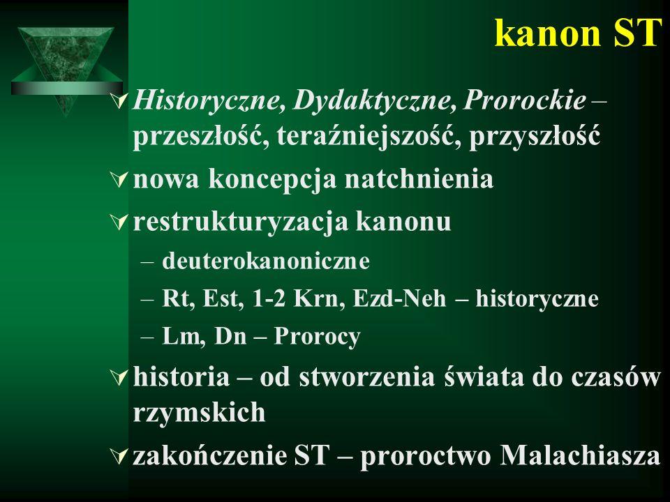 kanon ST  Historyczne, Dydaktyczne, Prorockie – przeszłość, teraźniejszość, przyszłość  nowa koncepcja natchnienia  restrukturyzacja kanonu –deuterokanoniczne –Rt, Est, 1-2 Krn, Ezd-Neh – historyczne –Lm, Dn – Prorocy  historia – od stworzenia świata do czasów rzymskich  zakończenie ST – proroctwo Malachiasza