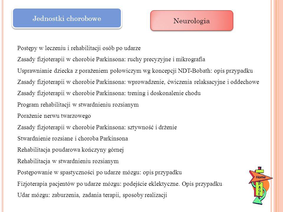 Jednostki chorobowe Neurologia Postępy w leczeniu i rehabilitacji osób po udarze Zasady fizjoterapii w chorobie Parkinsona: ruchy precyzyjne i mikrogr