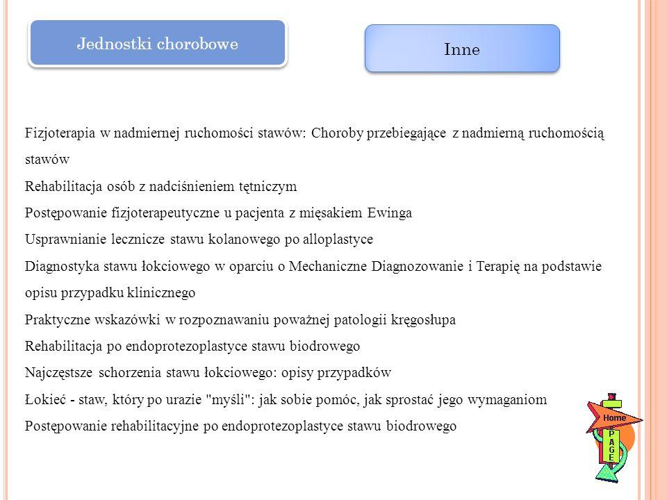 Jednostki chorobowe Inne Fizjoterapia w nadmiernej ruchomości stawów: Choroby przebiegające z nadmierną ruchomością stawów Rehabilitacja osób z nadciś