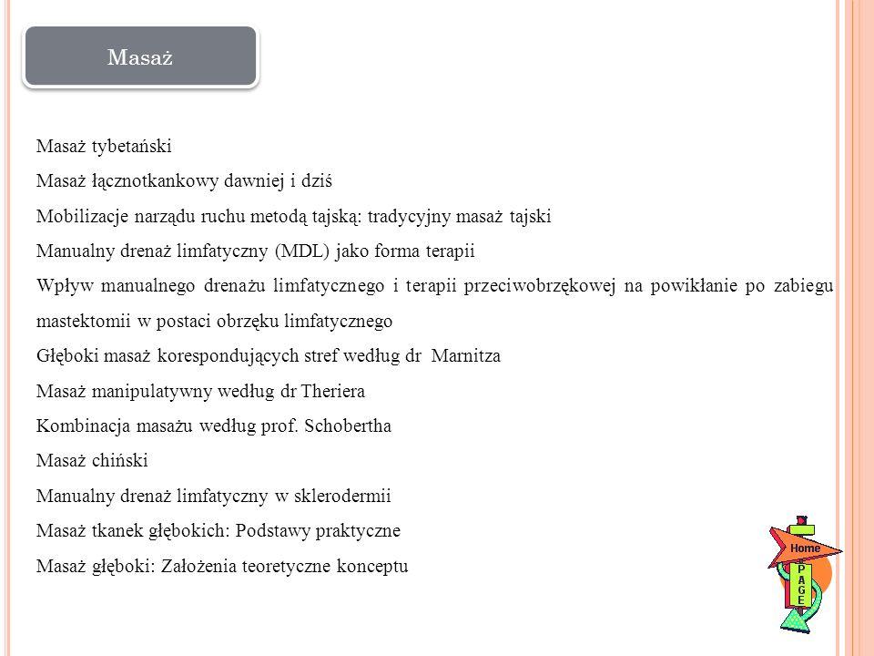 Masaż tybetański Masaż łącznotkankowy dawniej i dziś Mobilizacje narządu ruchu metodą tajską: tradycyjny masaż tajski Manualny drenaż limfatyczny (MDL