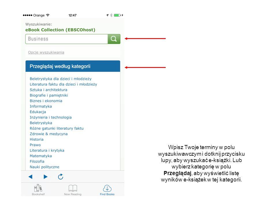Możesz również wybrać tytuły e-książek korzystając z karuzeli poniżej części Przeglądać według kategorii.