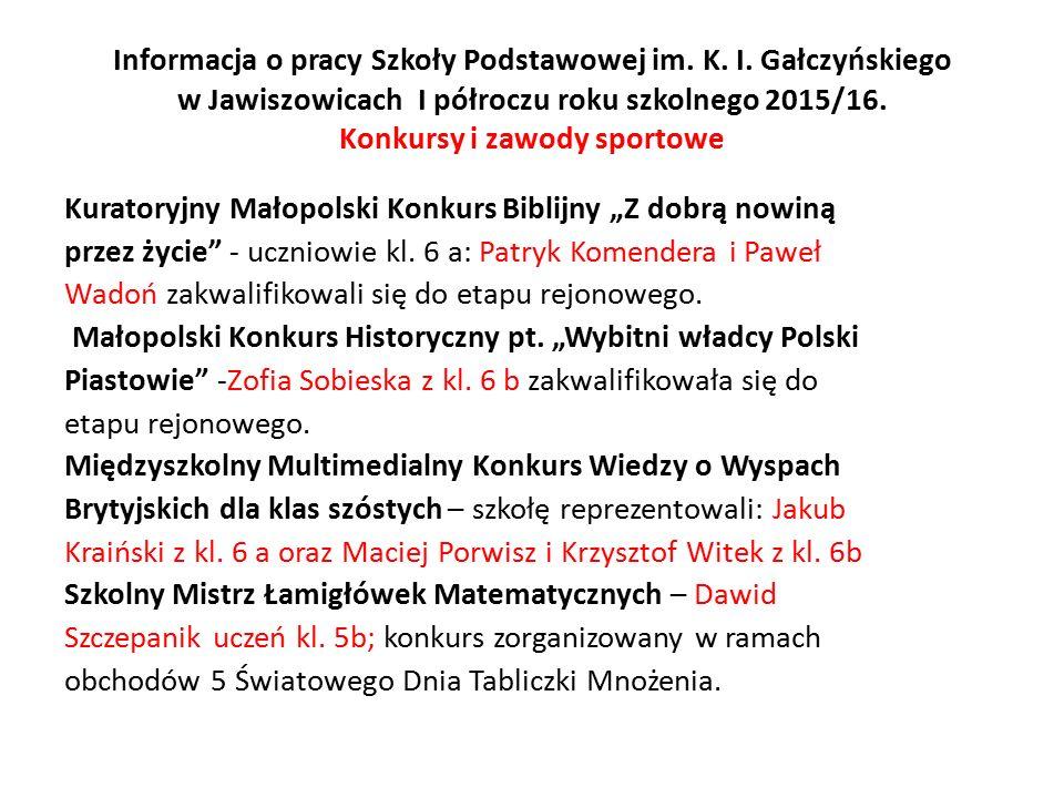 Informacja o pracy Szkoły Podstawowej im. K. I.