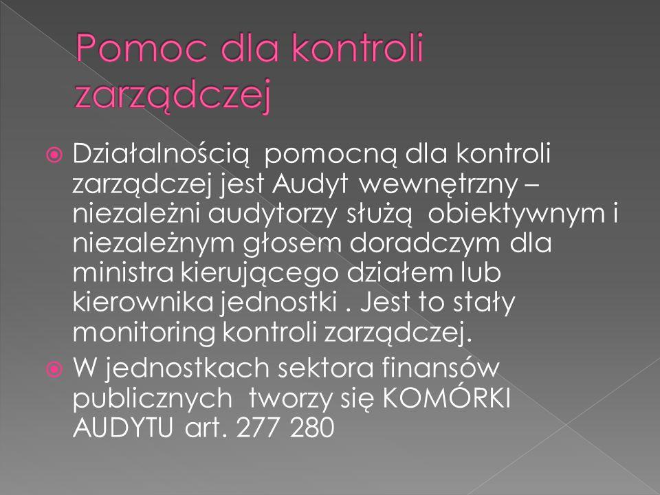  Działalnością pomocną dla kontroli zarządczej jest Audyt wewnętrzny – niezależni audytorzy służą obiektywnym i niezależnym głosem doradczym dla ministra kierującego działem lub kierownika jednostki.