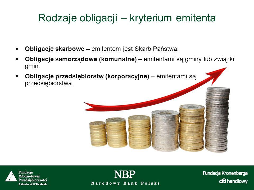 Rodzaje obligacji – kryterium emitenta  Obligacje skarbowe – emitentem jest Skarb Państwa.