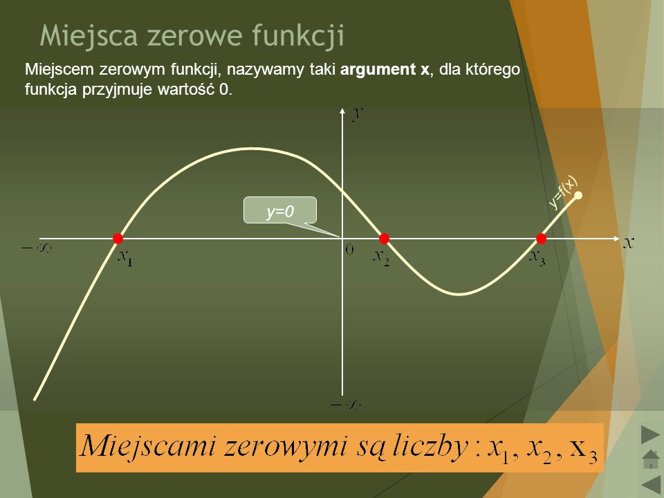 8 Zbiór argumentów, dla których funkcja przyjmuje wartości dodatnie W celu określenia, dla jakich argumentów funkcja przyjmuje wartości dodatnie, należy zrzutować na oś OX tę część wykresu funkcji, która leży wyżej osi OX.