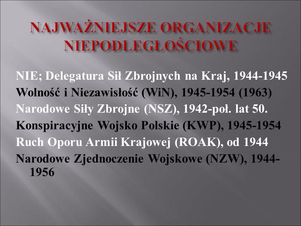 NIE; Delegatura Sił Zbrojnych na Kraj, 1944-1945 Wolność i Niezawisłość (WiN), 1945-1954 (1963) Narodowe Siły Zbrojne (NSZ), 1942-poł. lat 50. Konspir