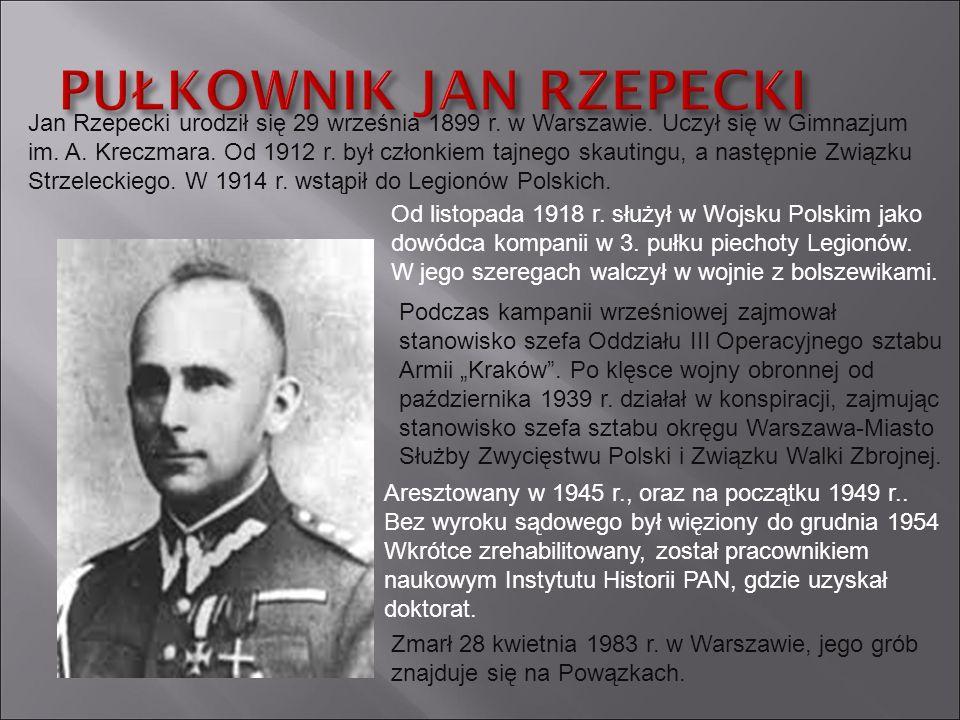 Jan Rzepecki urodził się 29 września 1899 r. w Warszawie. Uczył się w Gimnazjum im. A. Kreczmara. Od 1912 r. był członkiem tajnego skautingu, a następ