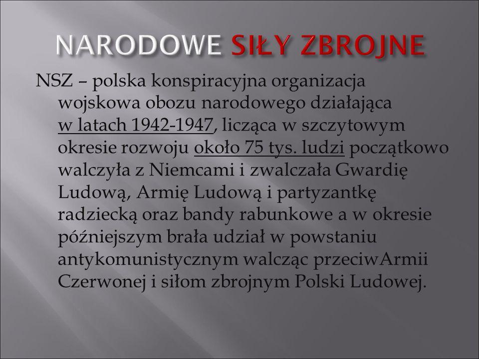 NSZ – polska konspiracyjna organizacja wojskowa obozu narodowego działająca w latach 1942-1947, licząca w szczytowym okresie rozwoju około 75 tys. lud