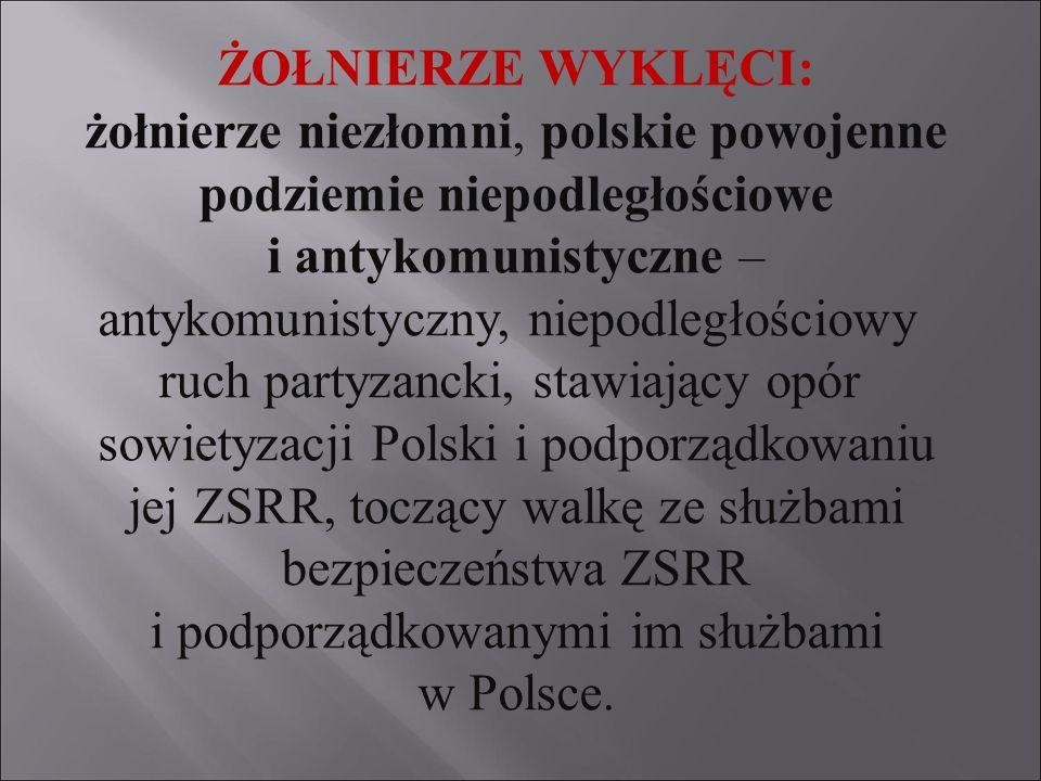 ŻOŁNIERZE WYKLĘCI: żołnierze niezłomni, polskie powojenne podziemie niepodległościowe i antykomunistyczne – antykomunistyczny, niepodległościowy ruch