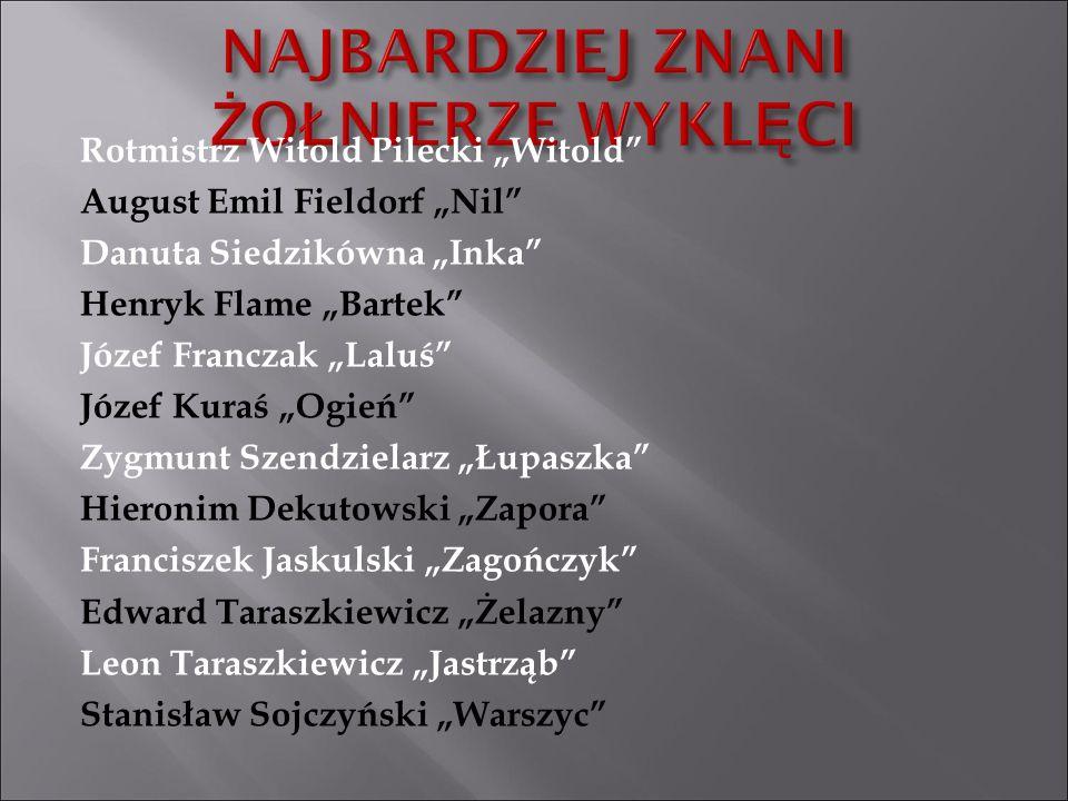 """Rotmistrz Witold Pilecki """"Witold"""" August Emil Fieldorf """"Nil"""" Danuta Siedzikówna """"Inka"""" Henryk Flame """"Bartek"""" Józef Franczak """"Laluś"""" Józef Kuraś """"Ogień"""