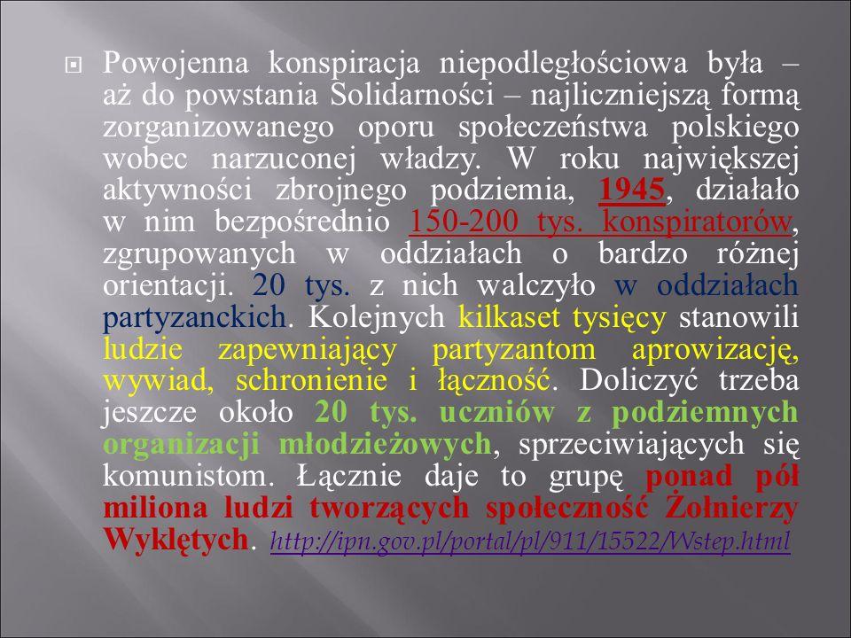  Powojenna konspiracja niepodległościowa była – aż do powstania Solidarności – najliczniejszą formą zorganizowanego oporu społeczeństwa polskiego wob