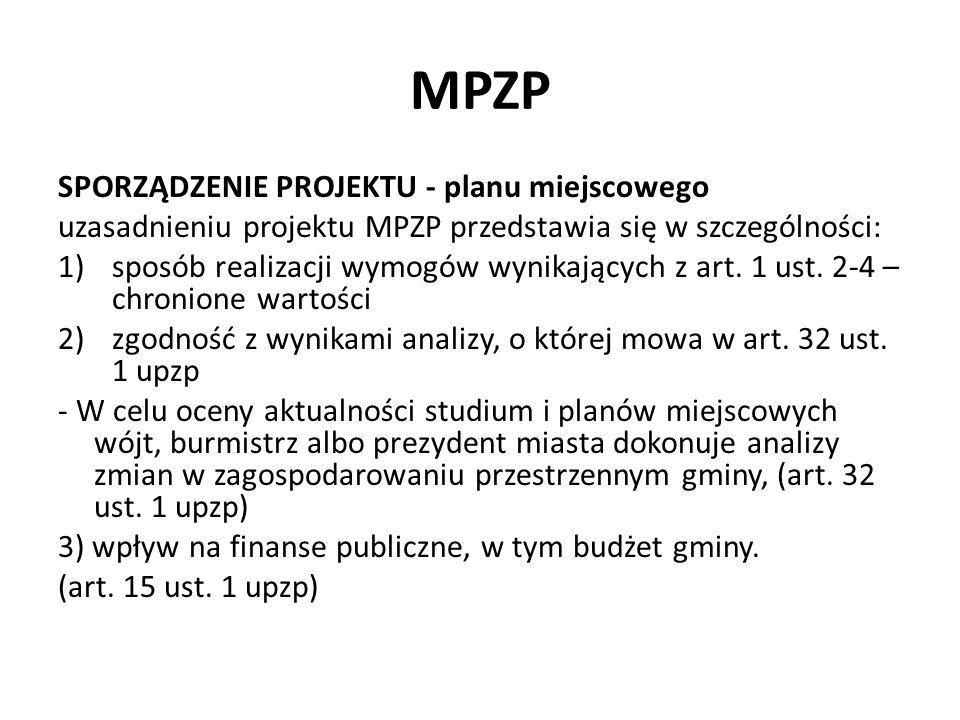 MPZP Plan miejscowy MPZP zawiera elementy: 1.Obligatoryjne – art.