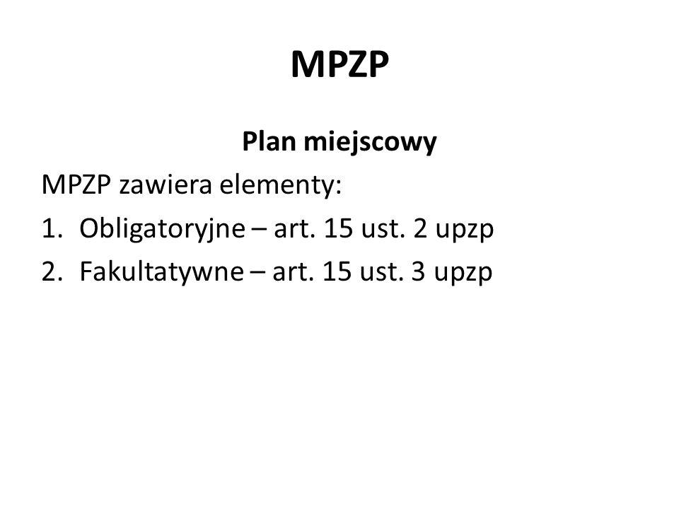MPZP Plan miejscowy MPZP zawiera elementy: 1.Obligatoryjne – art. 15 ust. 2 upzp 2.Fakultatywne – art. 15 ust. 3 upzp