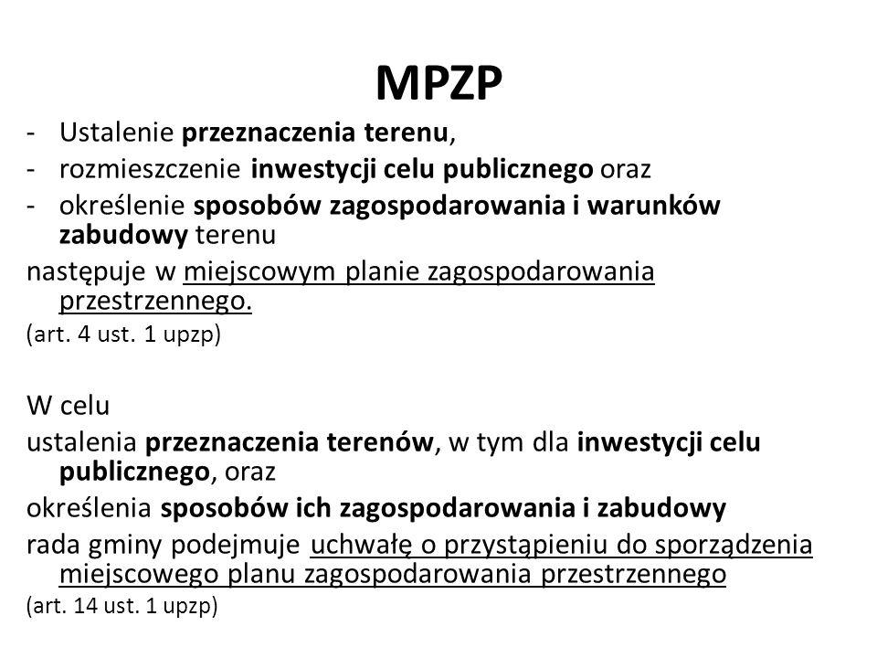 MPZP -Ustalenie przeznaczenia terenu, -rozmieszczenie inwestycji celu publicznego oraz -określenie sposobów zagospodarowania i warunków zabudowy teren