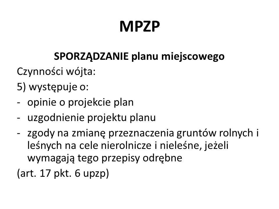 MPZP SPORZĄDZANIE planu miejscowego Czynności wójta: 5) występuje o: -opinie o projekcie plan -uzgodnienie projektu planu -zgody na zmianę przeznaczen
