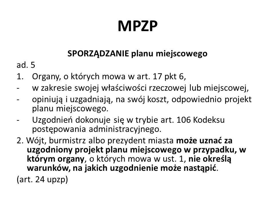 MPZP SPORZĄDZANIE planu miejscowego ad. 5 1.Organy, o których mowa w art. 17 pkt 6, -w zakresie swojej właściwości rzeczowej lub miejscowej, -opiniują