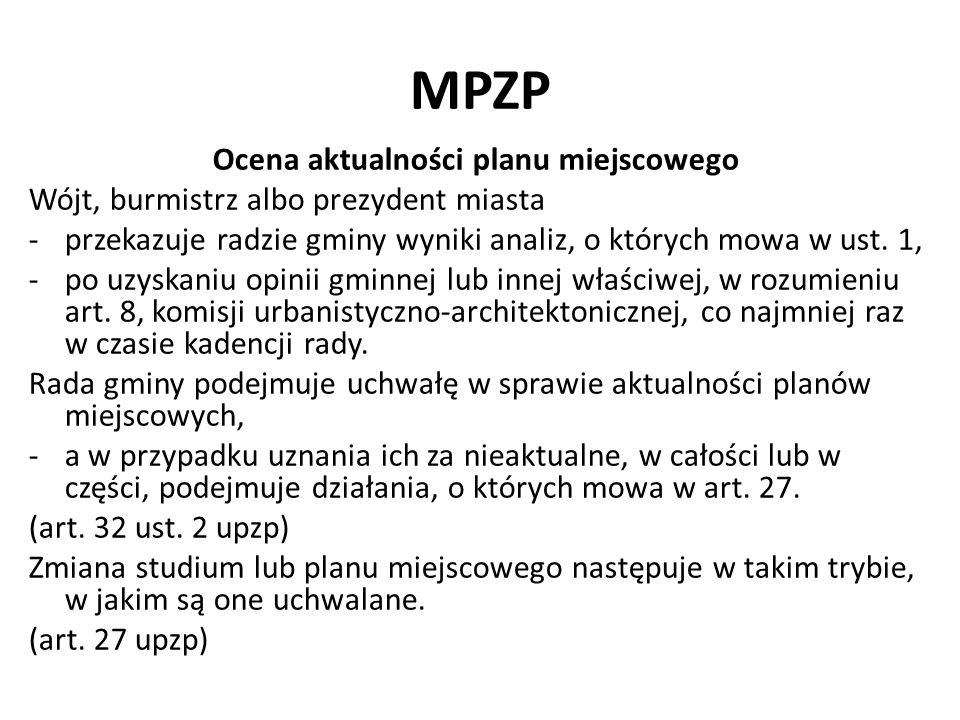 MPZP Ocena aktualności planu miejscowego Przy podejmowaniu uchwały, o której mowa w ust.