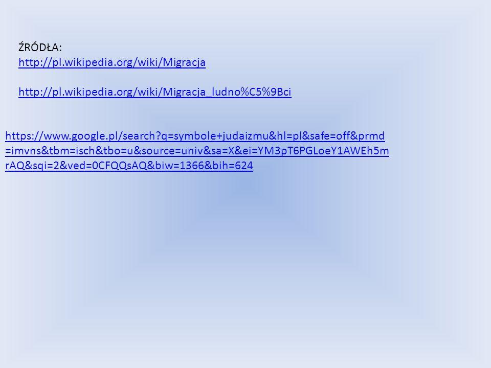 ŹRÓDŁA: http://pl.wikipedia.org/wiki/Migracja http://pl.wikipedia.org/wiki/Migracja_ludno%C5%9Bci https://www.google.pl/search q=symbole+judaizmu&hl=pl&safe=off&prmd =imvns&tbm=isch&tbo=u&source=univ&sa=X&ei=YM3pT6PGLoeY1AWEh5m rAQ&sqi=2&ved=0CFQQsAQ&biw=1366&bih=624