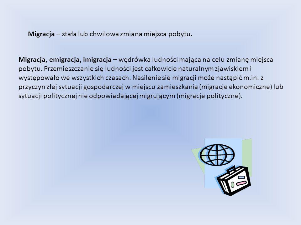 Migracja – stała lub chwilowa zmiana miejsca pobytu.